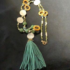 Jewelry - BOHO NECKLACE W/ LEATHER TASSEL, SHELL & BEADS